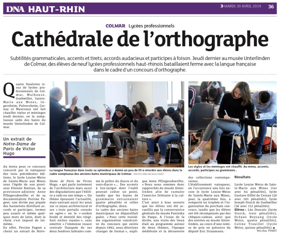 CONCOURS D\'ORTHOGRAPHE DES LYCEES PROFESSIONNELS DU HAUT ...